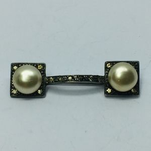 1920s Art Deco Sterling Faux Cream Pearl Bar Pin
